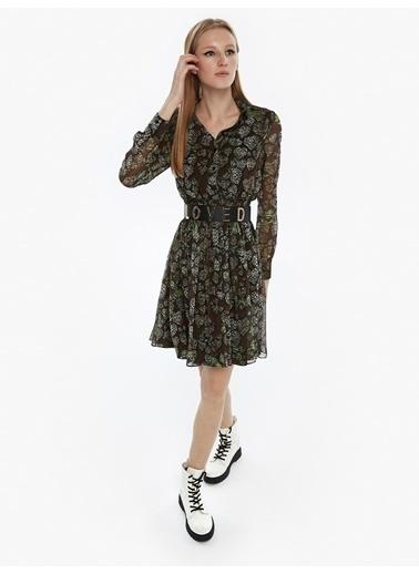 Twist Desenli Şifon Elbise Kahve